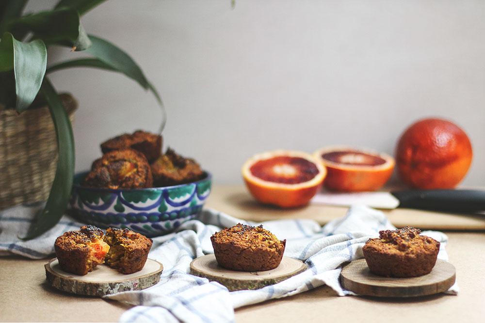 Muffins de naranja sanguina y calabaza
