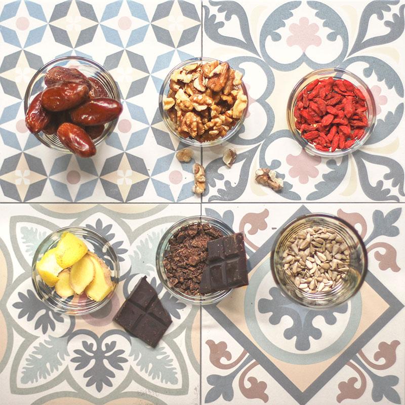 ingredientes Lilolas de Limón, cacao y jengibre