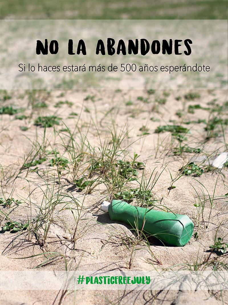 Una botella de plastico tardará una media de 500 años en descomponerse